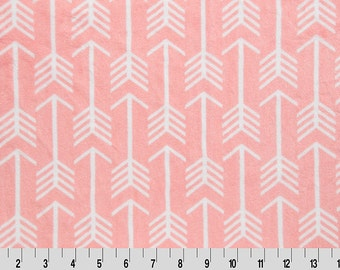 Minky Standard Size Pillowcase  - Coral Arrow minky pillow - Solid Coral Trim - Free Personalization
