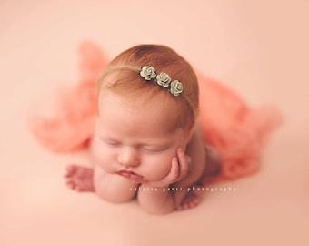 OLIVE TINY ROSE Tieback, Olive Tieback, Photography Prop, Newborn Photo Prop, Birthday Prop, Olive baby headband, Mohair Tieback, Tieback