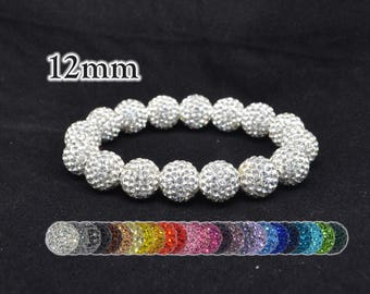 12mm Pave Crystal Disco Ball Bead Stretch Bracelet  - 1216B - White, Pink, Blue, Purple, Turquoise, and Other Colors