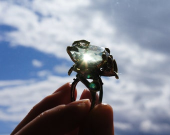 Fine Art Unique ring Natural Green Amethyst