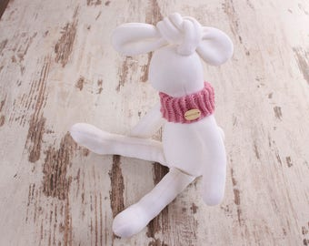 Stuffed easter bunny toy handmade rabbit plushie toddler gift plush animal for baby shower in light pink scarf