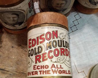 Antique Edison Gold Moulded Wax Cylinder Records / Recordings / Musical Ephemera / Decorative Only / PRICE is for ONE / Cylinders Poor Cond.