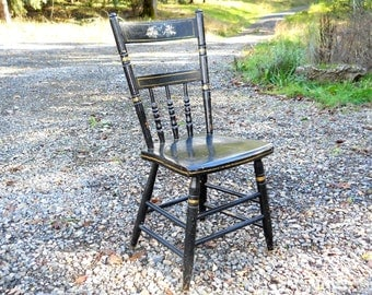 Antique Single Plank Windsor Seat Farmhouse Cottage Chair Early American Black Paint 19th C Primitive Floral Rare New England French Country