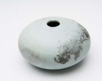 Blue Ceramic Vessel - Sawdust Fired Pot
