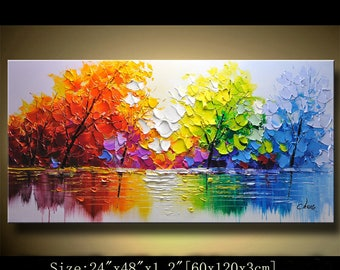 contemporary wall art,Palette Knife Painting,colorful Landscape painting,wall decor,Home Decor,Acrylic Textured Painting ON Canvas Chen 0303