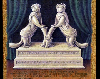 Funny animal art print, Marmorean:  A marble sculpture of marmots in togas forming a letter M, complete with Latin inscription,