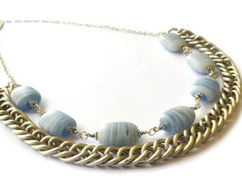 Airy Blue Ceramic Necklace with Aluminum Chain