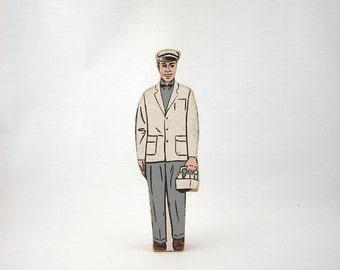 Vintage Wood Milk Man Figurine, Educational Toy, 1960s