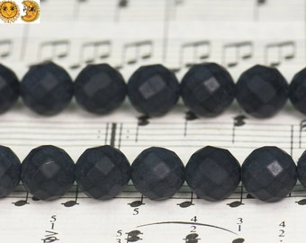 15 inch strand of black onyx frosted matte faceted(64 faces) round bead 4mm 6mm 8mm 10mm 12mm 14mm