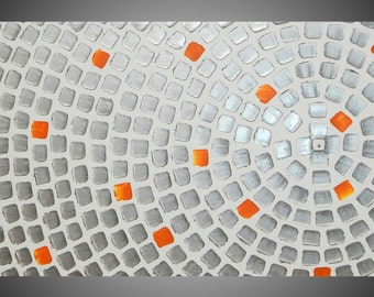 Painting Art Paintings Acrylic Wall Art Canvas Art Large Painting White Silver Orange Abstract Squares 48 x 24 Deko Made to Order by ilonka