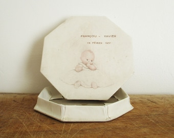 Antique french cardboard box, Paris 1937, Baptism, Boite carton ancienne, Baptême, France, Vintage home decor
