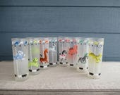 Vintage 1950's Libbey Carousel Glassware, Set of 8 Highball Glasses, Frosted Glassware with Painted Merry-Go-Round Design