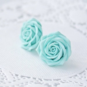 CYBER MONDAY Light blue flower earrings, blue rose earrings, blue rose stud earrings, blue earrings, wedding earrings, womens earrings, earr