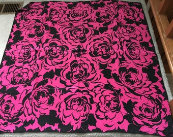 Large square silk scarf, hot pink.