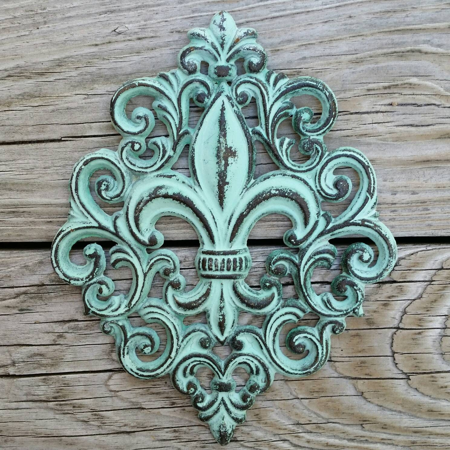 Cast iron fleur de lis wall plaque cast iron wall decor Fleur de lis wall