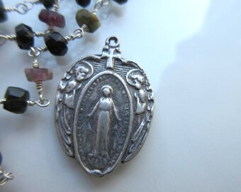 Miraculous Medal Charm Sterling Silver 925 Pendant oxidized finish 17mm x 25mm vintage style Catholic pendant Our Lady of Graces MED02