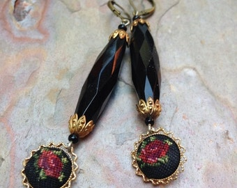 HOLIDAY SAVINGS Black Rose Earrings Bohemian Czech Red Petipoint Art Nouveau