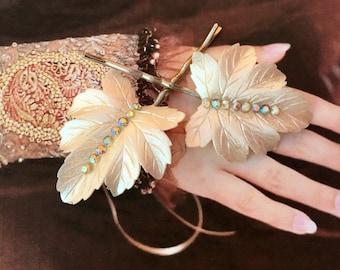 Decorative Hair Pins 1950 Celluloid Faerie Fairy Leaf Leaves AB Aurora Borealis Bridal Woodland Jewelry