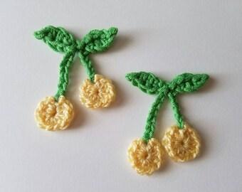 """NEW- 1pc 2.5"""" Crochet YELLOW CHERRY Applique"""