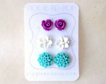 Flower Stud Earrings Set with Plum Purple Rose Earrings, White Lotus and Aqua Mum Cute Studs. Hypoallergenic Earrings in Colorful Gift Set.