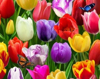 Tulips Digital Garden - Cotton Fabric - Elizabeth's Studio - FL-18