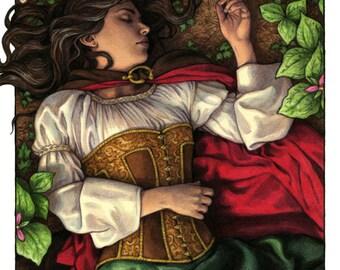 Snow White Poison Apple Illustration 8x10