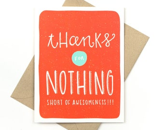 funny thank you card - thanks for nothing