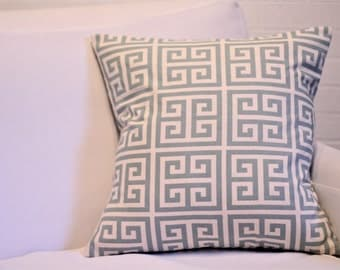 "17x17"" Blue and Natural Greek Key Pillow Sham"