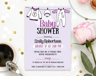 Lavendar Baby Shower Invitation - Onesie Baby Shower Invite Printable - Gender Neutral Baby Shower Digital PDF Template Instant DOWNLOAD PDF