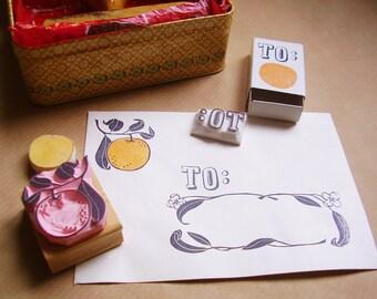 stamp set orange blossom box, handcarved stamps for stationery