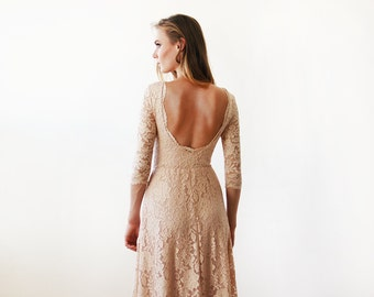 Floral lace backless-trim  maxi Blush gown, Lace pink gown , Maxi lace dress 1118