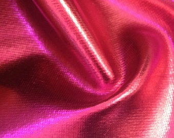 Solid Metallic Foil Spandex Hot Pink 60 Inch Fabric by the yard - 1 Yard