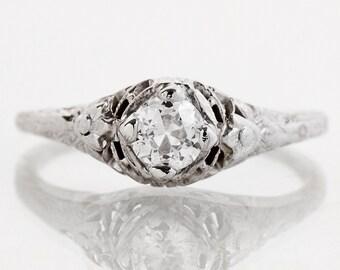 Antique Engagement Ring - Antique 18k White Gold Diamond Solitaire Engagement Ring