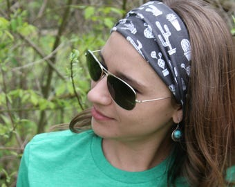 Black and White Cactus Headband Stretchy Cotton Headband