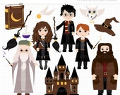 SALE - Clipart - School of Wizardry / Wizards clipart, Griffendor, Hogwarts clipart, castle clipart, book of spells, magic potion, castle, v