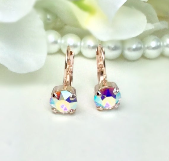 Swarovski Crystal 8.5mm Lever-Back Drop Earrings - Classy - Aurora Borealis - OR Choose Your Favorite Color and Finish -  FREE SHIPPING