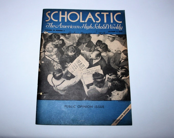Vintage October 2, 1939 Scholastic: The American High School Weekly