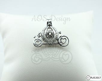 Pearl Cage Carriage 925 Sterling Silver Charm Necklace Disney Princess Cinderella Pick A Pearl or Wish Pearl Epcot