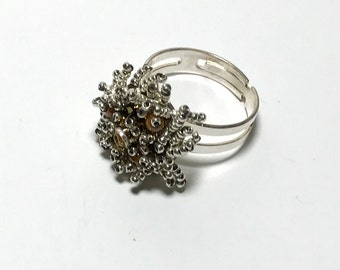 Bead Stitched Ring Silver Beaded Ring Seed Beaded Ring Gold Bead Ring Gold Beadwork Ring Size 9 Beaded Ring Fringe Bead Ring Flower