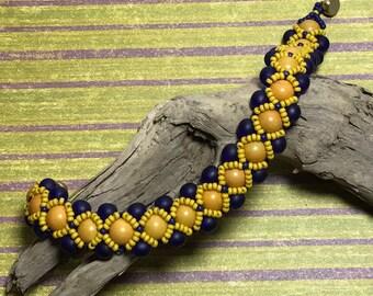 Navy Beaded Bracelet Chunky Bead Bracelet Reversible Bracelet Woven Bead Bracelet Peyote Bracelet Seed Bead Bracelet Beadwoven Bracelet