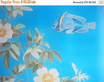 SALE Hand painted on silk Blue turquoise fish roses scarf - made TO ORDER