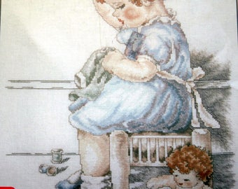 """Counted Cross Stitch booklet """"Little Mother"""" BESSIE PEASE GUTMANN Stoney Creek #52 1992"""
