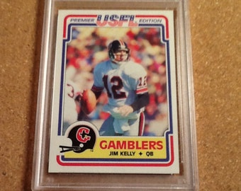 1984 topps usfl #36 jim kelly psa 8 nm-mt football card houston gamblers buffalo bills