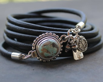 Turquoise bracelet - #8 mine Turquoise, silver and leather artisan bracelet, boho bracelet, artisan charm bracelet, mothers day gift
