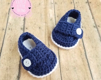 Baby Loafers, Crochet Baby Boy Booties, Crochet Baby Boy Shoes, Baby Boy Shoes, Boy Navy and White Booties