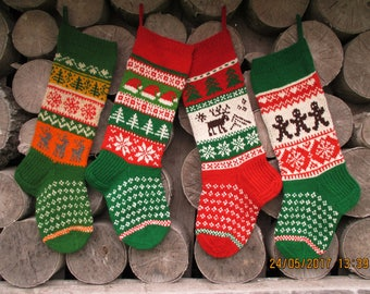 Set of 4 Christmas Stockings Personalized Hand knit Wool Cranberry Red Green Gray White Blue with Gnomes Santa Deer Snowflakes Snowman