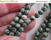 """Flash Sale - 6mm, Green & White Speckled Stone Beads, Round - Full (15"""") Strands are Available from the 'Select an Option' menu"""