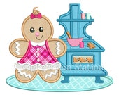 Ginger Baby Girl Baking Cookies Applique Machine Embroidery Design Christmas Gingerbread Man Holiday INSTANT DOWNLOAD