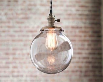 Pendant Lights - Globe Pendant -  Hanging Pendant Light - Industrial Shade Pendant - Edison Pendant - Mid-Century Modern