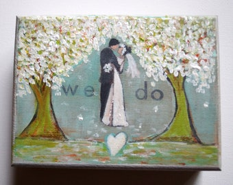 Wedding Box, Ring Bearer Box, Hand Painted We Do Box, Wooden Box Flowers Trees Rustic Wedding Couple Ring Box